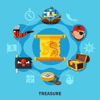 Tesoro pirata con cofre de oro, mapa, composición de dibujos animados redonda de jolly roger sobre fondo azul