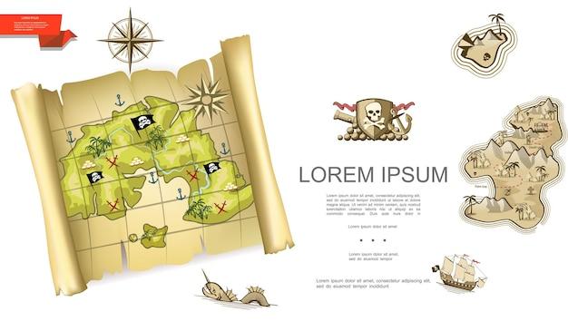 Tesoros coloridos con mapa pirata emblema cañón brújula rosa de los vientos barco monstruo marino isla deshabitada