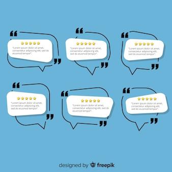 Testimonial creativo en diseño de burbuja de texto