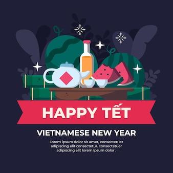 Têt año nuevo vietnamita en diseño plano