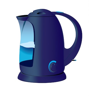 Tetera azul con agua y regulador térmico.