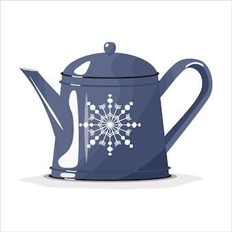 Tetera azul, cafetera sobre un fondo blanco aislado. feliz navidad. platos para la cocina.