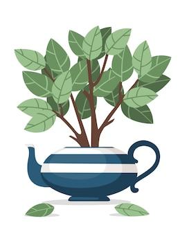 Tetera de cerámica azul con arbusto de té que crece fuera de ella ilustración vectorial plana sobre fondo blanco.