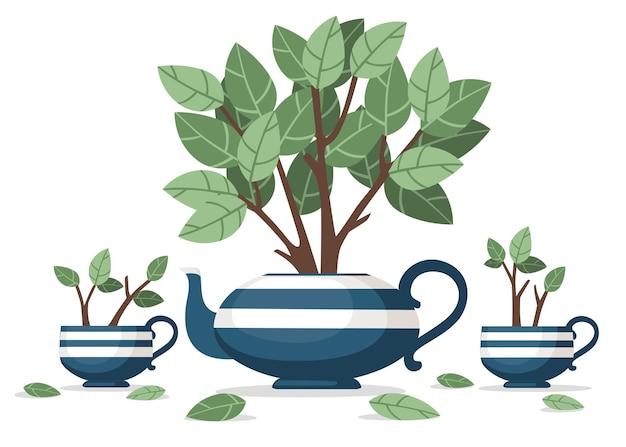 Tetera de cerámica azul y dos tazas con arbusto de té que crece fuera de ella ilustración vectorial plana sobre fondo blanco.