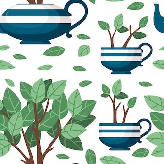 Tetera de cerámica azul de patrones sin fisuras y dos tazas con arbusto de té que crece fuera de la ilustración de vector plano sobre fondo blanco.