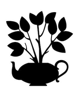 Tetera de cerámica de silueta negra con arbusto de té que crece fuera de la ilustración de vector plano sobre fondo blanco