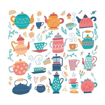 Tetera dibujado a mano gran conjunto con tazas y dulces.
