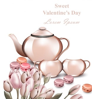 Tetera y macarrones tarjeta de vector. concepto de desayuno romántico san valentín