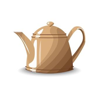 Tetera marrón sobre una cafetera vintage blanco aislado