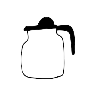 Tetera o cafetera dibujada a mano. chocolate, cacao, americano o capuchino. ilustración de vector de doodle.