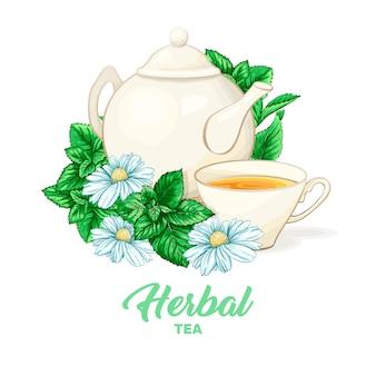 Tetera de porcelana y taza de té con té de menta y hojas.