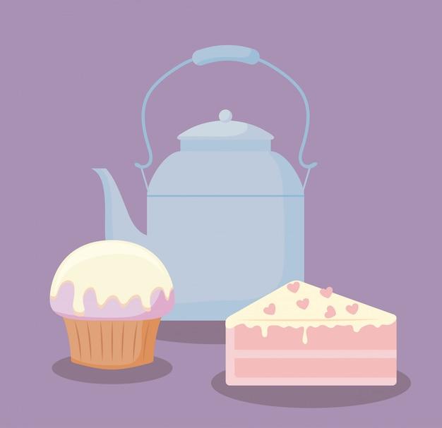 Tetera con la porción de pastel dulce