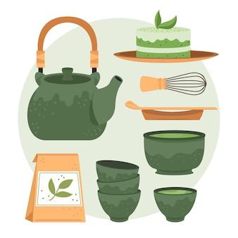 Tetera y tazas de juego de té japonés