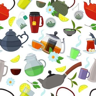 Teteras y tazas de té. ilustración de taza de té y tetera de patrones sin fisuras, tetera y taza