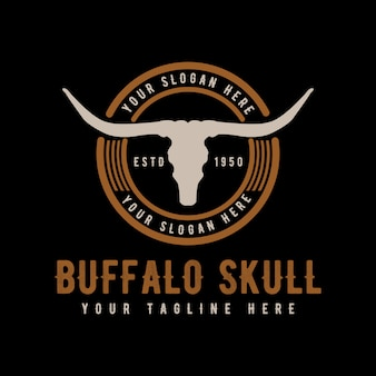 Texas longhorn, country western bull cattle vintage retro logo design