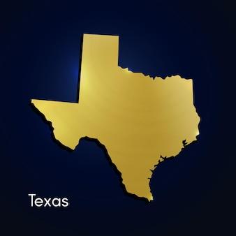 Texas mapa dorado con textura ilustración vectorial