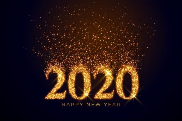 Texto de 2020 escrito en destellos dorados