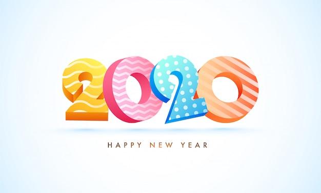 Texto 3d de 2020 en diferentes patrones abstractos en blanco para la celebración de feliz año nuevo.