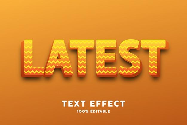 Texto 3d amarillo brillante con patrón de zigzag, efecto de texto