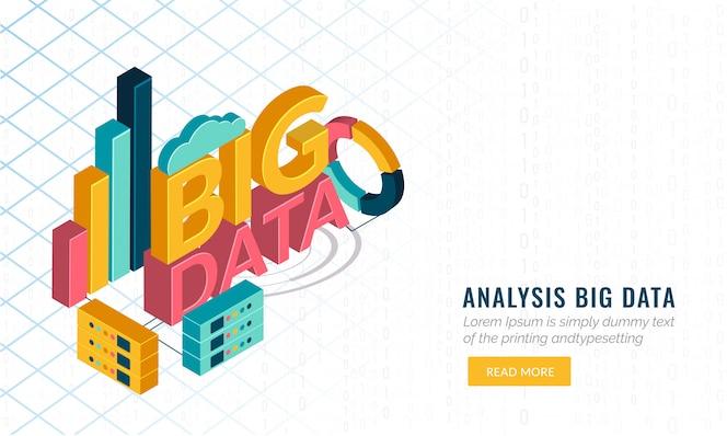 Texto 3d big data con elementos de infografía y servidor web.