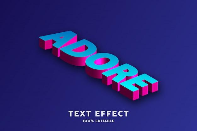 Texto 3d isométrico rojo rosa y azul, efecto de texto