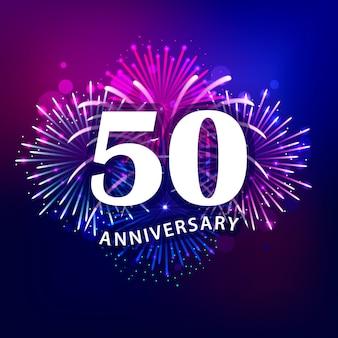 Texto de 50 aniversario con coloridos fuegos artificiales