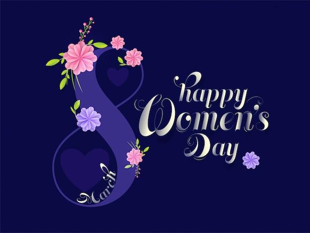 Texto del 8 de marzo decorado con flores de estilo de corte de papel sobre fondo azul para el día de la mujer feliz.
