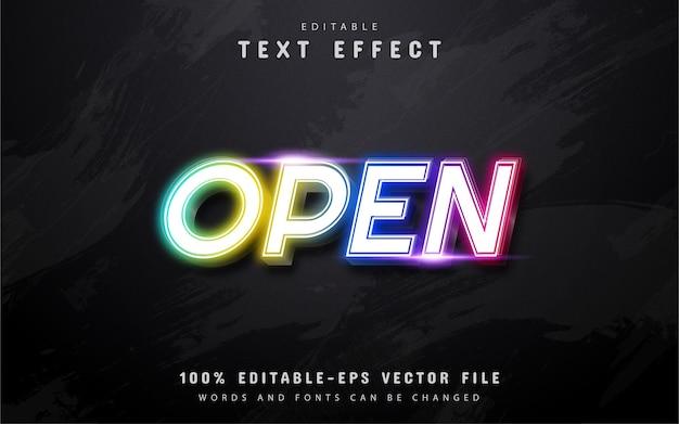 Texto abierto, efecto de texto de estilo neón colorido