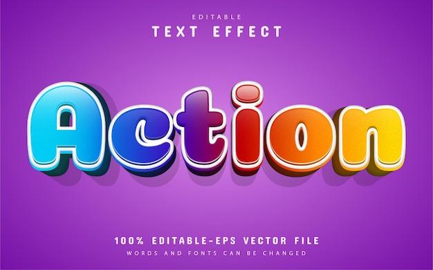 Texto de acción, efecto de texto de dibujos animados coloridos