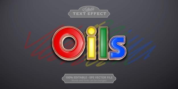 Texto de aceites, efecto de texto de estilo colorido editable