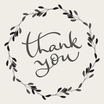 Texto de agradecimiento con marco redondo