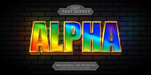 Texto alfa, efecto de texto de estilo colorido editable
