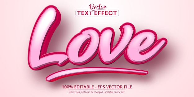 Texto de amor, efecto de texto editable de estilo de dibujos animados