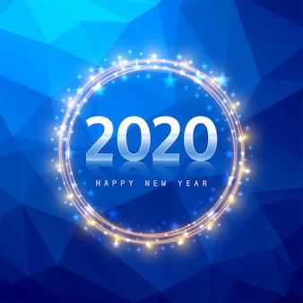 Texto de año nuevo 2020 en polígono azul