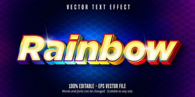 Texto del arco iris, efecto de texto editable colorido brillante