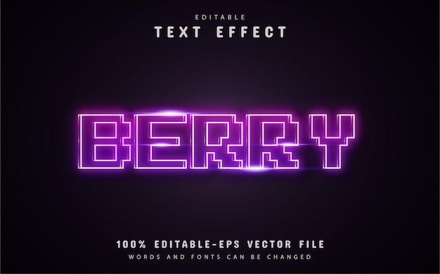 Texto de baya - efecto de texto de neón de píxel púrpura