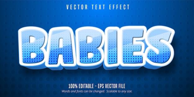 Texto de bebés, efecto de texto editable de estilo de dibujos animados