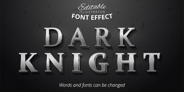 Texto de caballero oscuro, efecto de fuente editable plata 3d