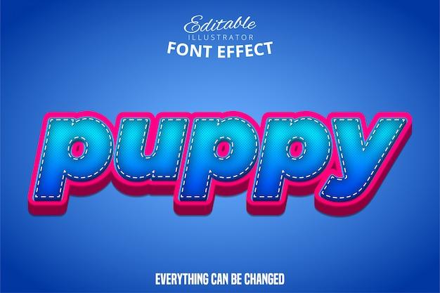 Texto de cachorro, puple 3d y efecto de fuente editable azul