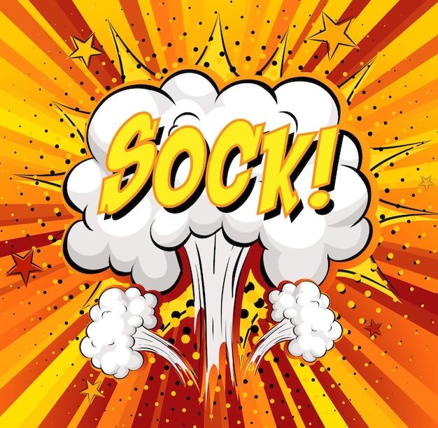 Texto de calcetín en explosión de nube cómica sobre fondo de rayos