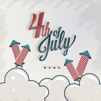 Texto de caligrafía el 4 de julio con cohete de fuegos artificiales en textura