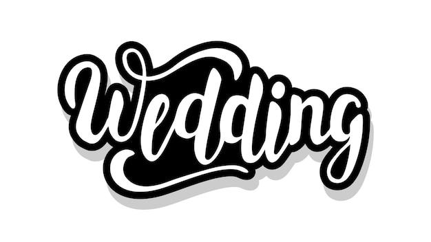 Texto de caligrafía de boda aislado en blanco