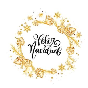 Texto caligráfico español feliz navidad. navidad brillante
