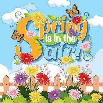 Texto caligráfico de primavera floral