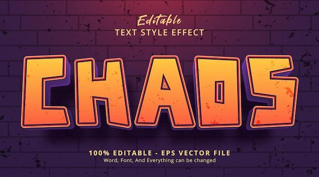 Texto de caos en estilo de evento de título, efecto de texto editable