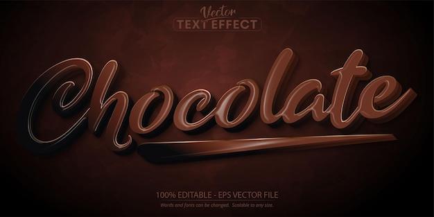 Texto de chocolate, efecto de texto editable de estilo de dibujos animados