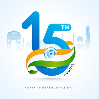 Texto con cinta de la bandera india y monumentos famosos de la india para el feliz día de la independencia.