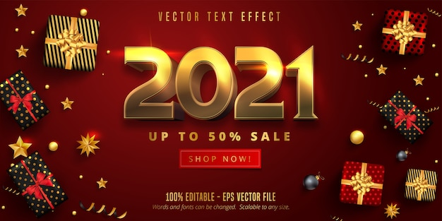 Texto de color dorado brillante 2021, efecto de texto editable de estilo navideño