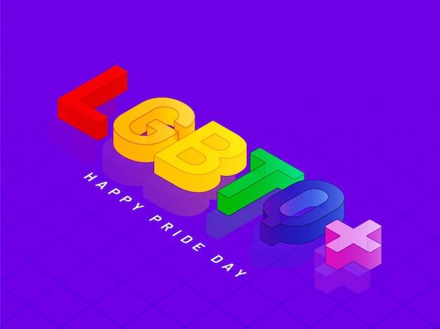 Texto colorido en 3d lgbtq + sobre fondo morado para el concepto happy pride day.