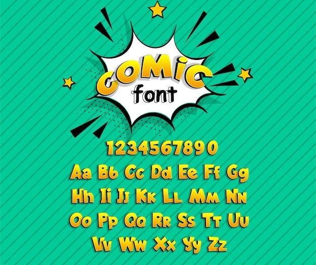Texto cómico amarillo de la fuente del superhéroe del arte pop del cómic.